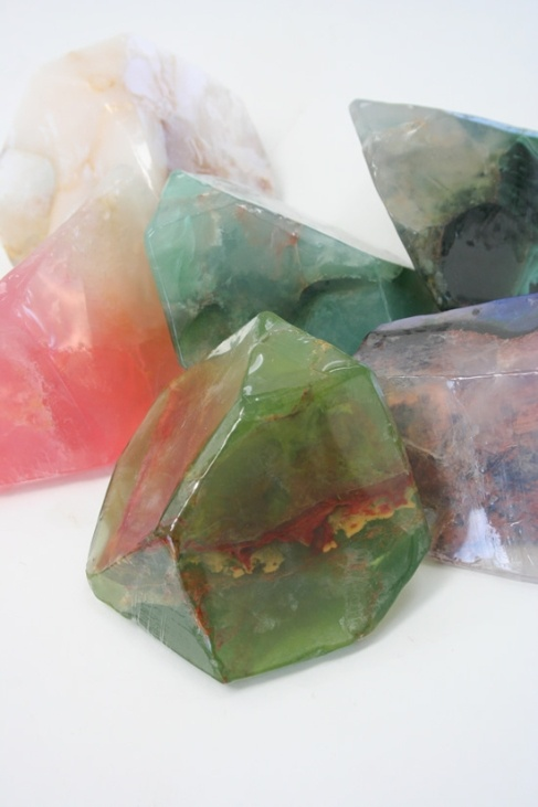 Clear, colored soap rocks using cutting techniques. Pretty, natural looking results.