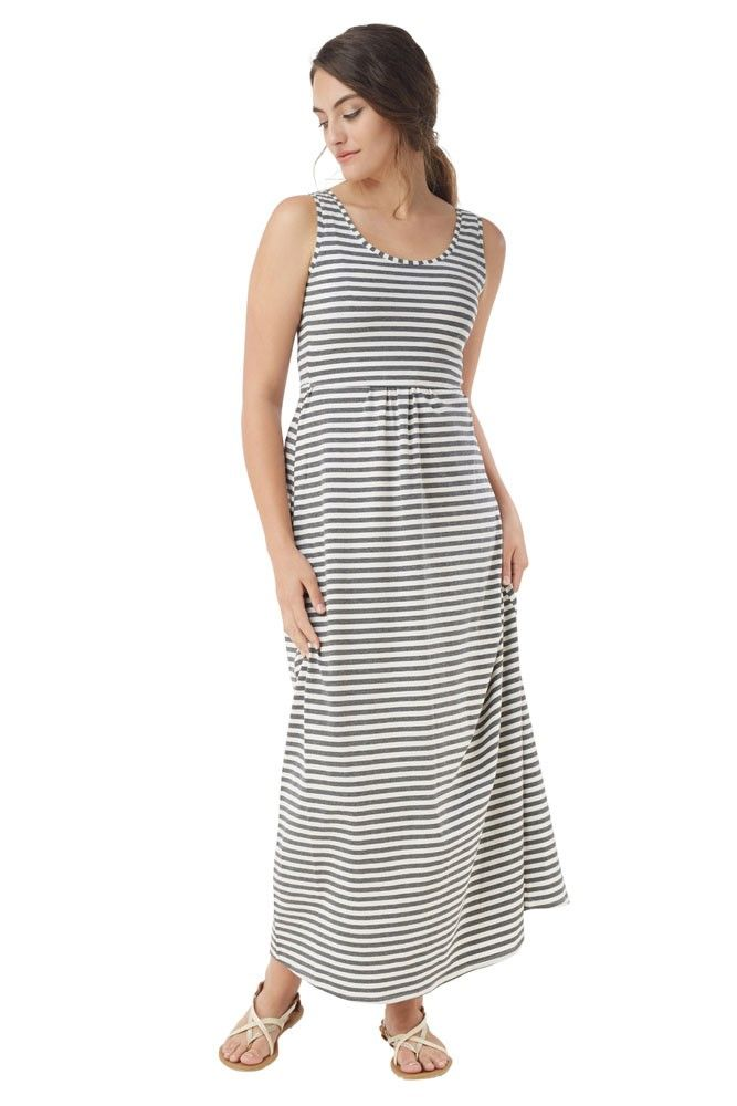 db52888d811 Avery Organic Cotton Maxi Nursing Dress (White Grey Stripes) | New ...