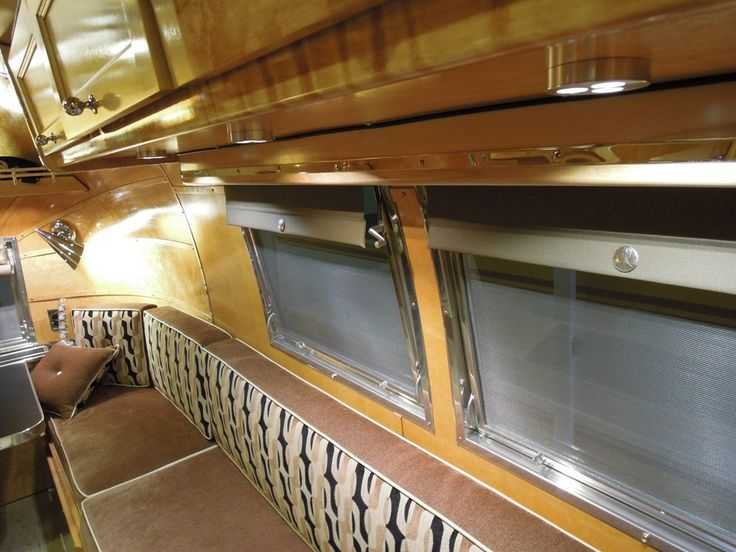Airstream Travel Trailers >> love the fabrics on this bench, and the window treatments | Airstream interiors | Pinterest ...