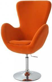 TEMPO KONDELA OLLI relaxačné kreslo - oranžová / chróm