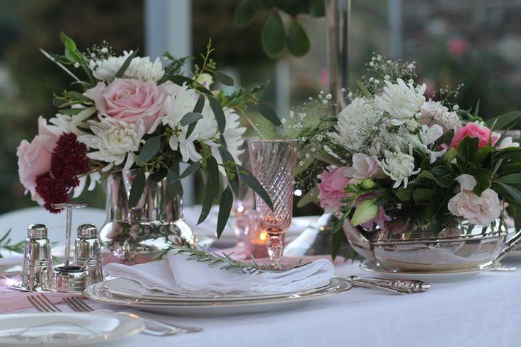 Flowers in Gran's silverware http://www.wanakaweddingflowers.co.nz
