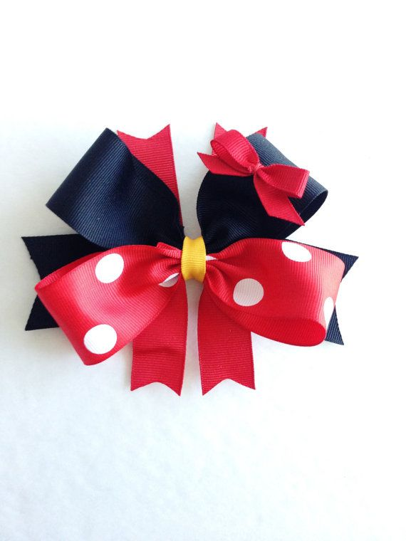 Minnie Mouse Hair Bows Inspired / Mickey Mouse by JoeysBowBoutique, $6.49
