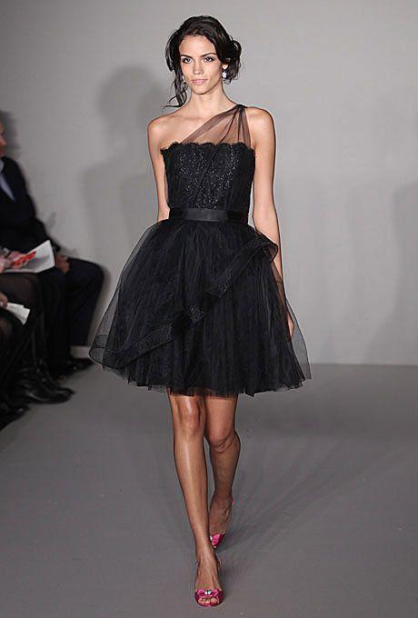 Black Bridesmaid Dress: Alvina ValentaA-line dress with one-shoulder tulle overlay, style 9246, Alvina Valenta