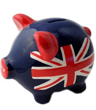 Union Jack Piggy bank, reminds me of Ang.