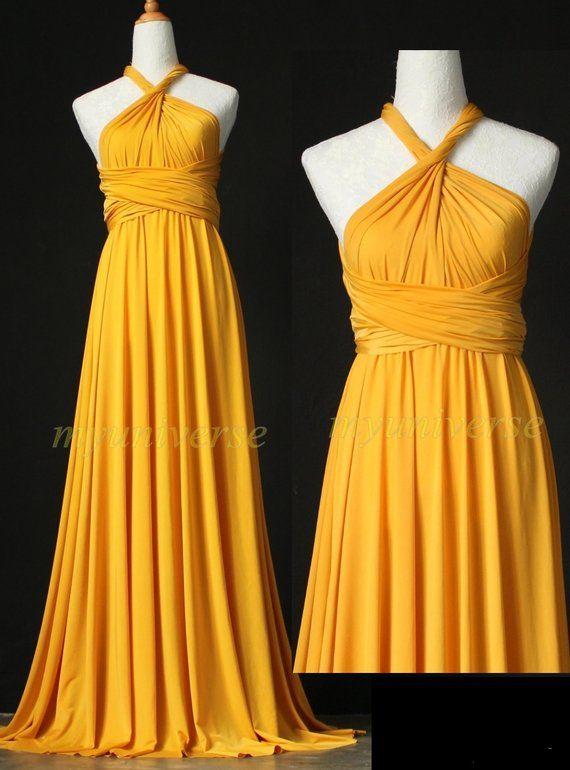 b307a445afd Wedding Infinity Maxi Dress Wrap Convertible Dress Bridesmaid Dress Yellow Formal  Prom Dress