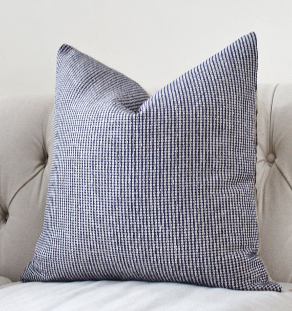 Decorative Navy Blue Gray Beige Cover Small Scale by MotifPillows