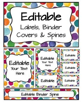 FREEBIE: editable pages match the Bright Watercolor Dots Word Wall with editable banner.  Take a look here:  Matching Word WallI use these to label my classroom bins, folders, organizers, and for student names in pocket charts (lunch, helpers, etc).