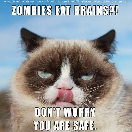 Zombies eat brains?! Don't worry you're safe.