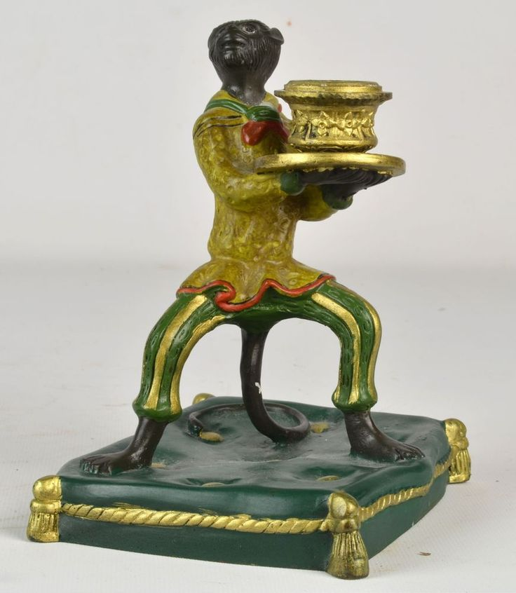 A Old Vienna Bronze Style Cold Painted Monkey Footman