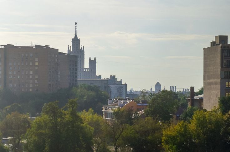 Moscow, panoram, green, trees, buildings, sky