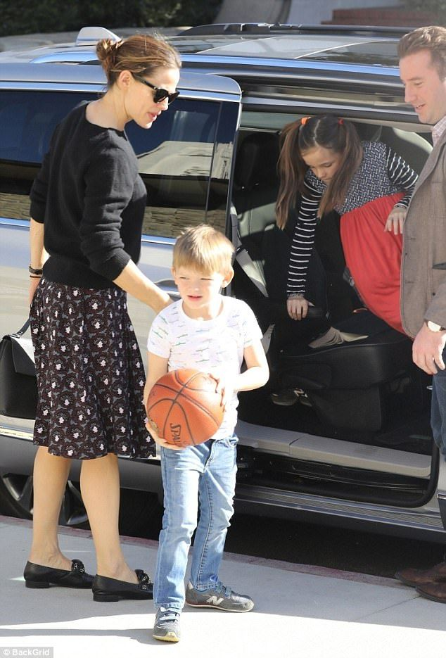Sunday best: Jennifer Garner arrives early to church on Sunday with her children ahead of ex-husband Ben Affleck