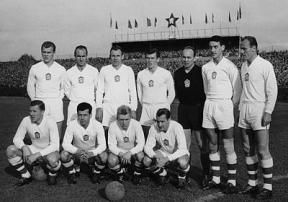 Josef Masopust (Czechoslovakia, 1954–1966, 63 caps, 10 goals) and the Czechoslovakian national team before the starting whistle in a friendly match against Scotland held in 1961 (Masopust 2nd left 1st row).