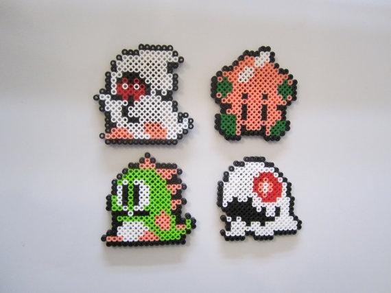Bubble Bobble for NES Nintendo red perler bead magnet set. $15.00, via Etsy.