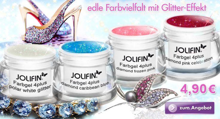 Jolifin Farbgele im funkelnden Diamond-Look – nur diese Woche für 4,90€ statt 9,90€: http://www.german-dream-nails.com/UV-Gel/Jolifin-UV-Gele/Jolifin-4plus-UV-Farbgele/Glittergele Holt Euch die 4 funkelnden Farbgele von Jolifin und verpasst Euren Fingernägeln einen neuen Look. Wundervolle bunte Farbgele mit Glitter-Effekten schmücken Euere Nägel auf zauberhafte Art und Weise.  #glittergele  #uvgel #naildesign #pink #blue #nageldesign