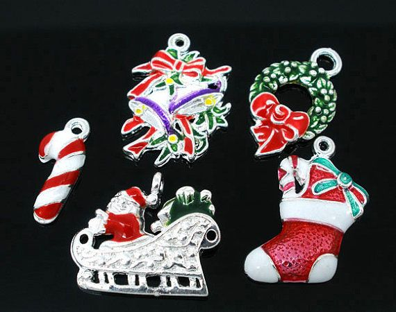 10 Mixed Silver Plated Enamel Colorful Christmas by BreezeBeading