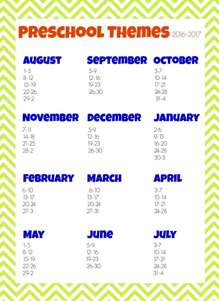 This Free 2016-2017 Preschool themes planner will help you easily plan your weekly preschool themes for the year!