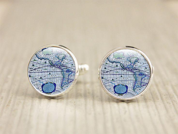 Globe Cufflinks - Map Cufflinks - Photo Cufflinks - Blue Glass Cufflinks (Globe 2) by GlassCharmed on Etsy