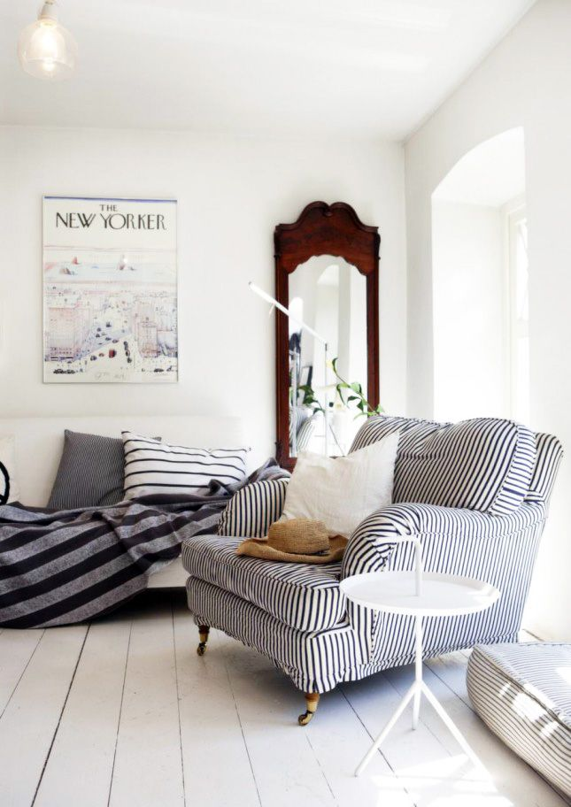 Add thick and thin stripes to your home decor for an effortless look.
