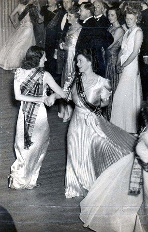 Princess Elizabeth dancing on the crowded floor at The Royal Caledonian Ball, 1946.