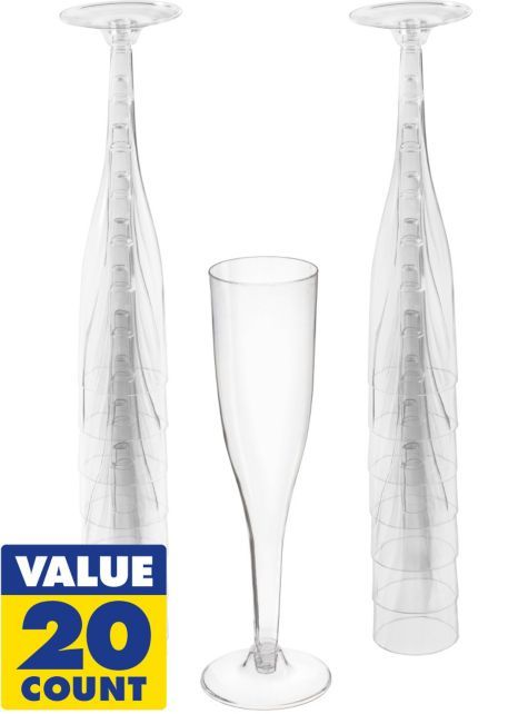 Clear Plastic Champagne Flutes 20ct - Party City