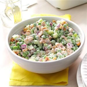 Pea 'n' Peanut Salad Recipe -Even people who don't like peas love this crunchy recipe, including my own children. I love the fact that it's so easy and makes a refreshing alternative to more traditional salads. A friend gave me the recipe years ago and I've been making it ever since. —Laurinda Nelson, Phoenix, Arizona
