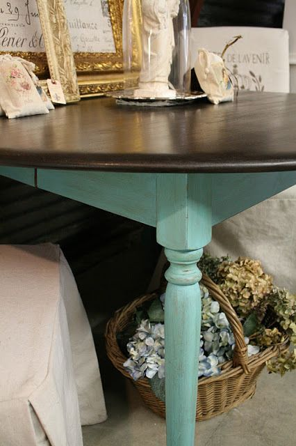 Reloved Rubbish: Vintage Kitchen Table with Turquoise Legs