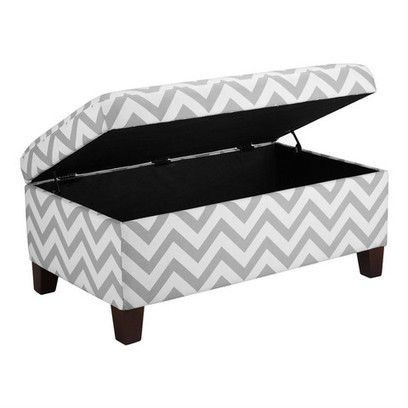 Grey & White Chevron Stripe Padded Storage Ottoman Bench | Budget Furniture | Scoop.it