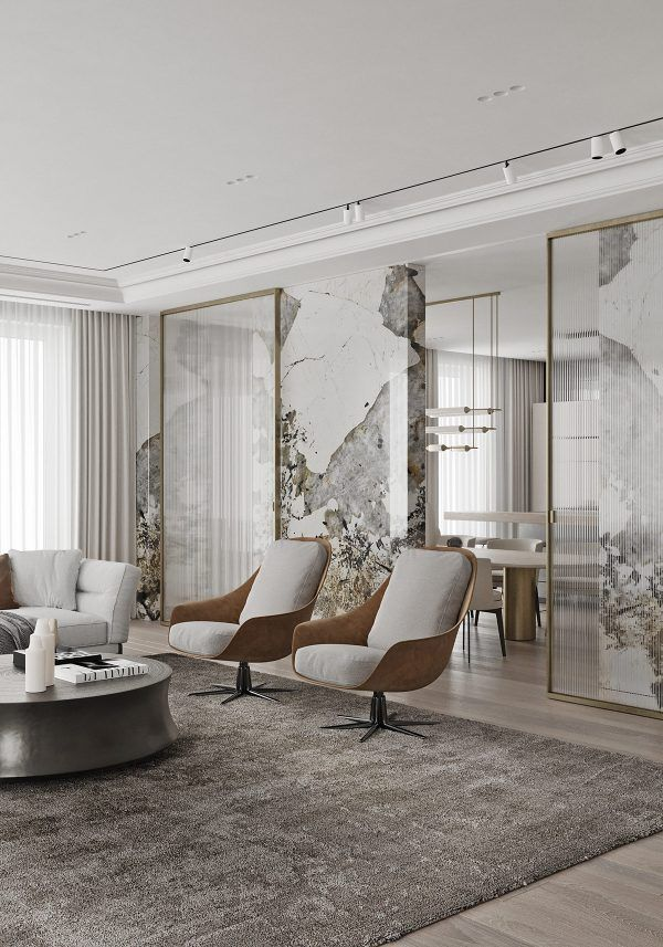 Magnificent Modern Marble Interior With Metallic Accents With