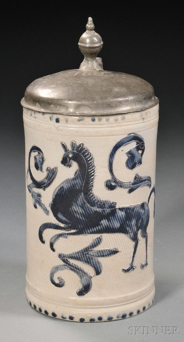 Lid german beer mug hinged lid gaming computer desk ideas - Pewter Mounted Salt Glazed Stoneware Tankard With Cobalt Horse Probably Germany Late