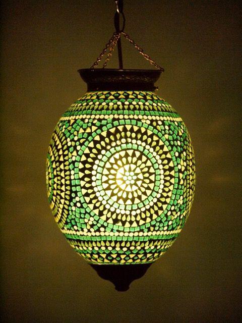 Tropical Green Mosaic Lantern