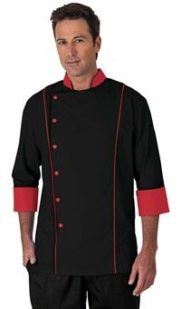 Men's 3/4 Sleeve Traditional Fit Chef Coat - Snap Front Closure - 65/35 Poly/Cotton