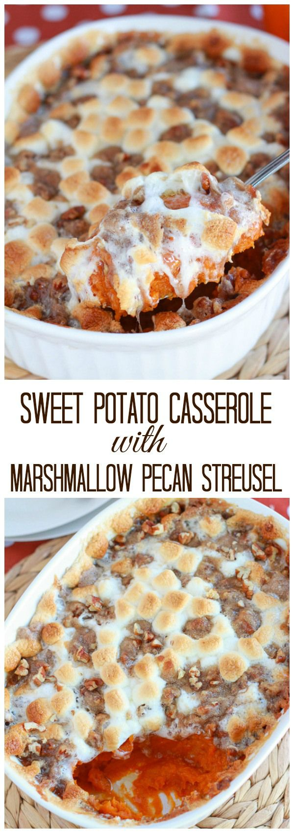 Creamy mashed sweet potatoes topped with toasted marshmallows and a cinnamon pecan streusel.: