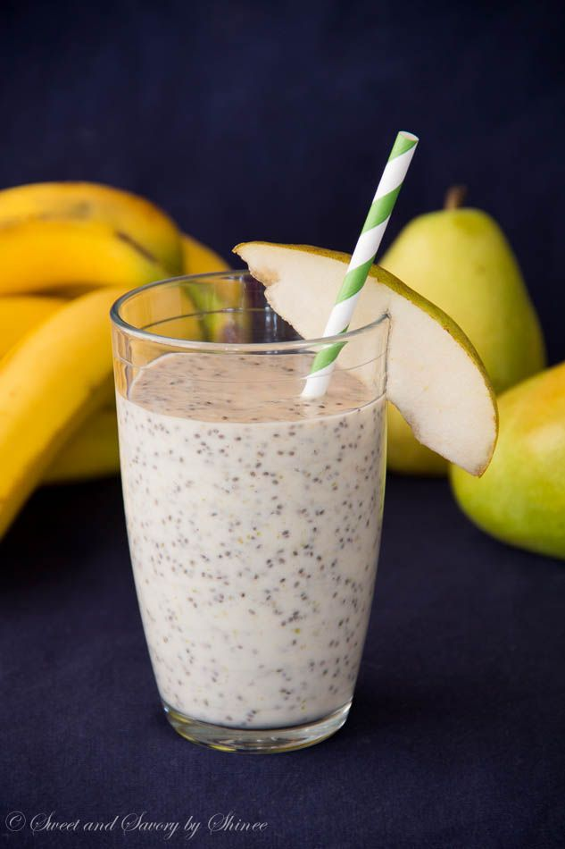 Creamy, filling pear banana chia smoothie for a perfect breakfast in the