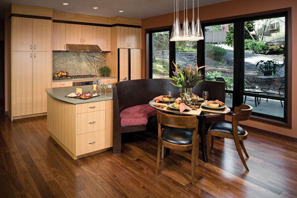 Seating at end of kitchen island google search - Kitchen island with bench seating ...