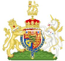 Coat of arms for Prince Arthur, Duke of Connaught and Strathearn, third son of Victoria and Albert.   In 1917, the inescutcheon was dropped by royal warrant from George V.