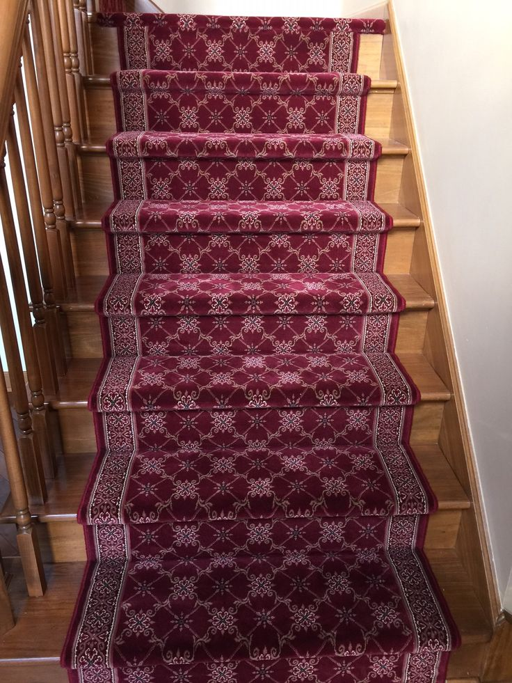 this beautiful burgundy stair runner was very difficult to create our carpet runner expert