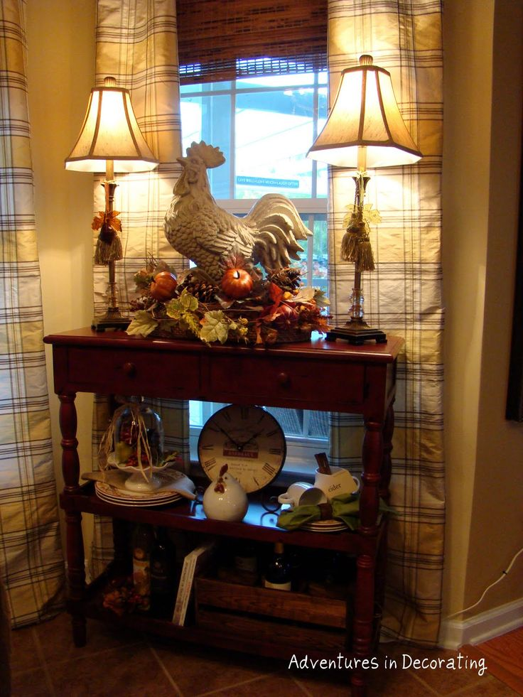 dining room or kitchen accent table with buffet lamps, rooster with fruit & greenery