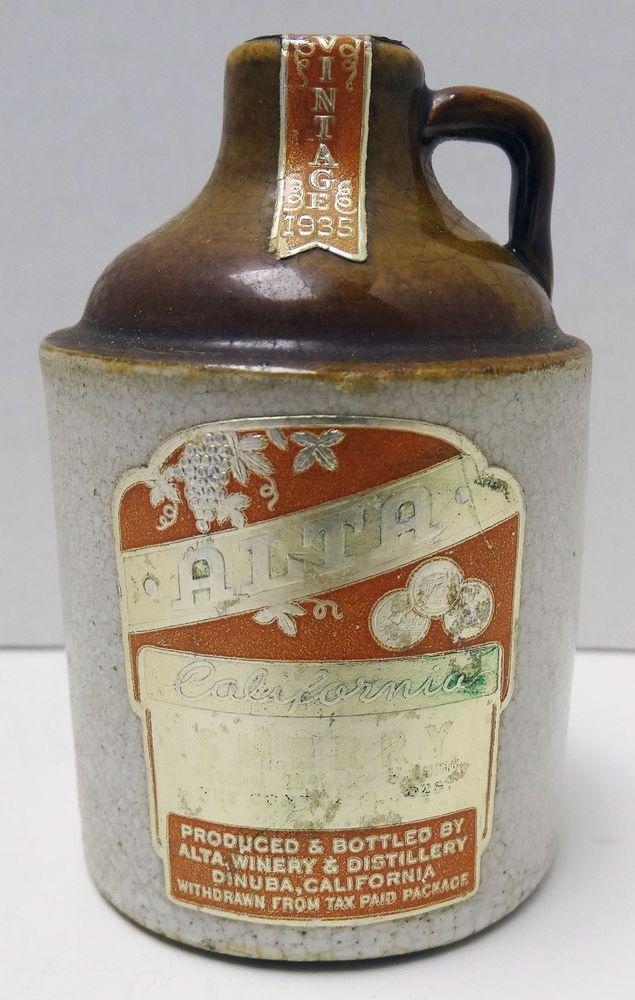 Vintage 1935 Stoneware Miniature Mini Shoulder Jug Alta Winery Dinuba California #AltaWinery