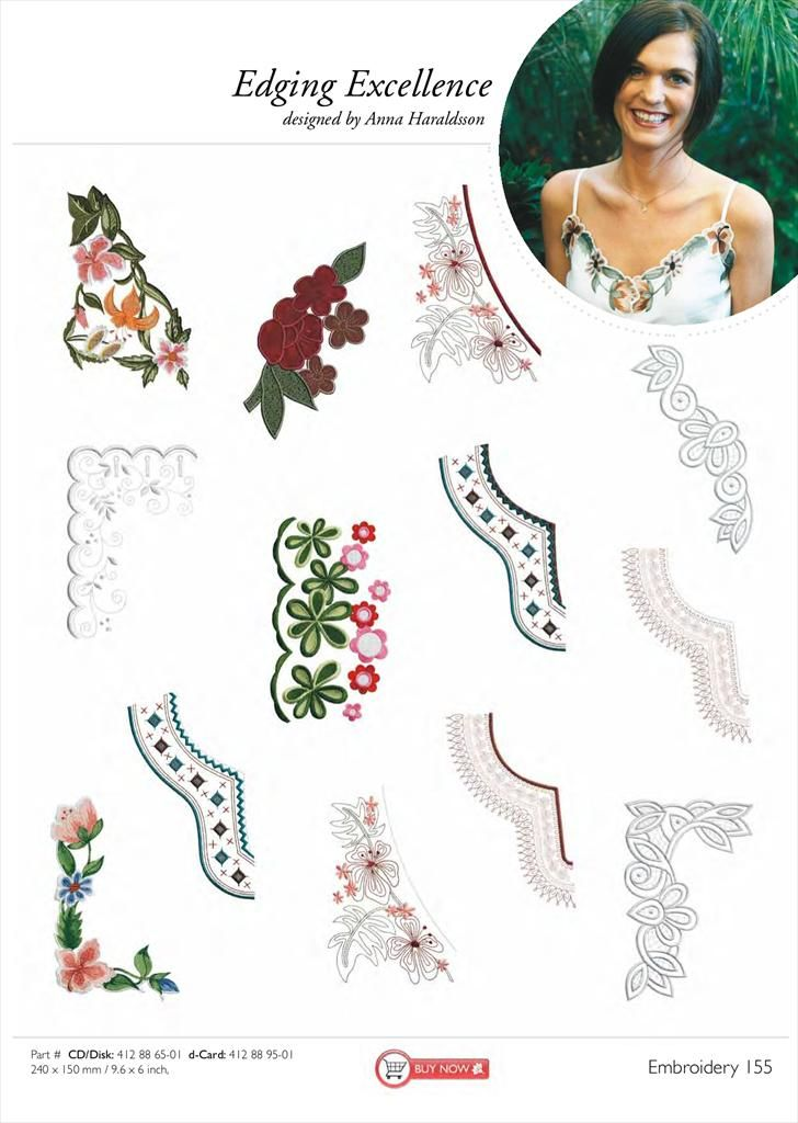 Delicate Flowers /& Lace Embroidery Designs Card for Husqvarna Viking Machines