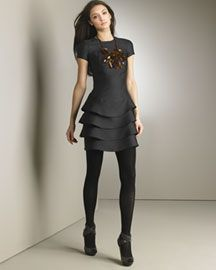 Burberry Prorsum Metallic Layered Dress- Dresses- Neiman Marcus :  burberry prorsum metallic layered dress women designer clothing metallic
