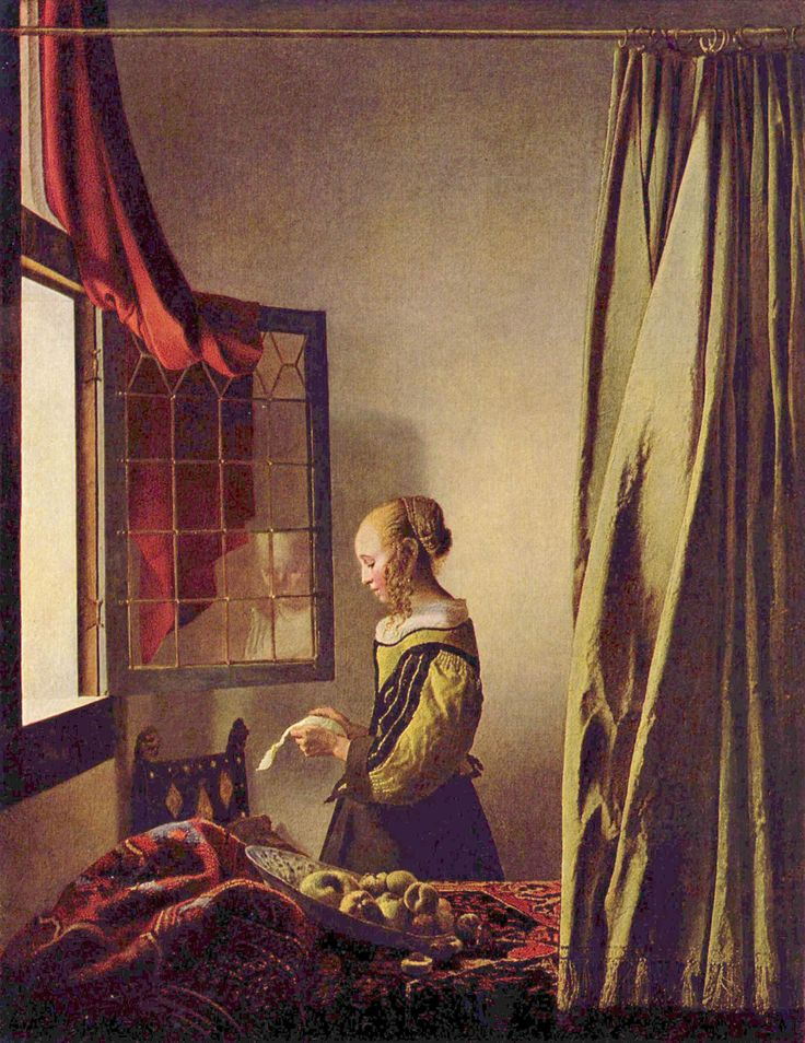 Girl reading a letter at an open window (4) | Johannes ...