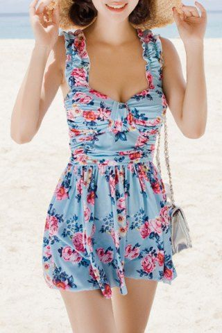 Refreshing Sweetheart Neck Flower Print Two Piece Swimsuit For Women