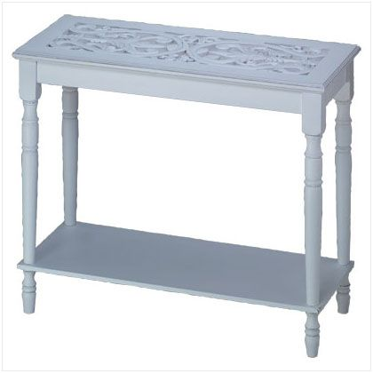 """Shabby Chic Hall Table Furnishing - Living Room Decor - A must-have for the romantic heart. This """"shabby chic"""" table with turned legs and an intricately carved top add rich visual appeal to this enchanting white wood table furnishing. www.mysouthernhomeplace.com"""