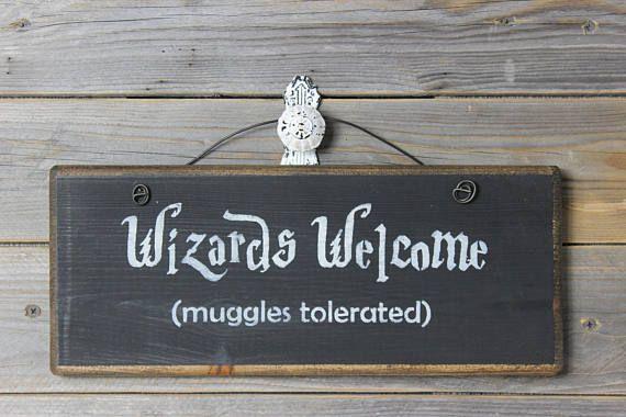 cartel de madera harry potter bienvenida de magos muggles