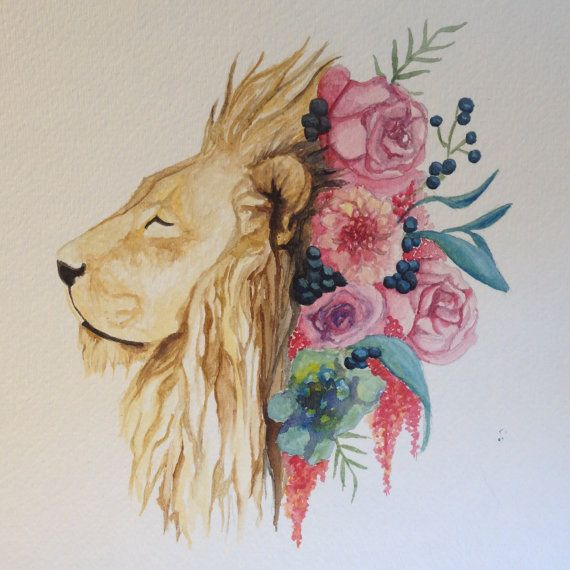 1000 Images About I Want Black Flowers On Pinterest: ORIGINAL Watercolor Painting Lion 9 X 12 By