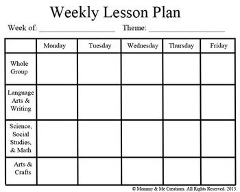 Weekly Preschool Lesson Plan Template
