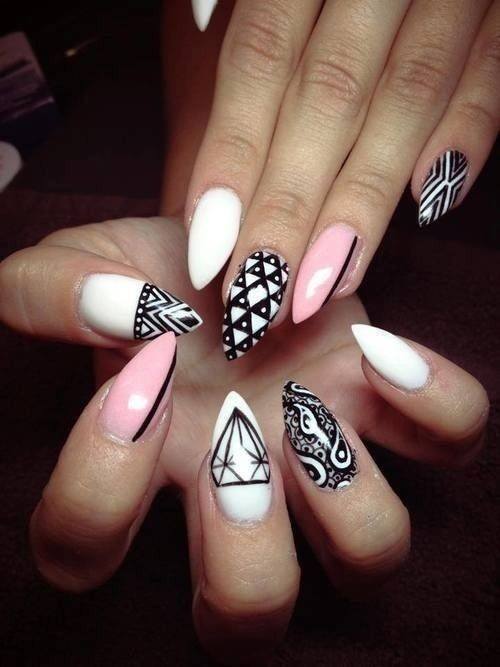 Stiletto Nail Art. Black, pink and white intricate nail designs. Try Pommette's…