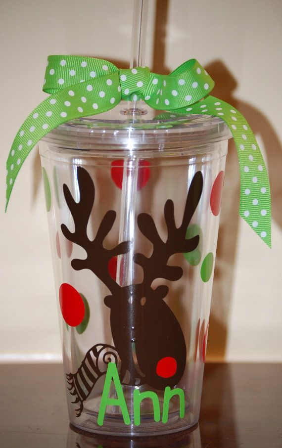 Rudolph Reindeer Personalized 16 ounce tumbler