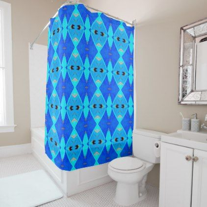 Shower Curtain - 043 - Abstract Blue - shower curtains home decor custom idea personalize bathroom