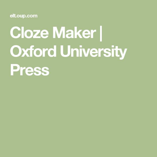 Cloze Maker | Oxford University Press